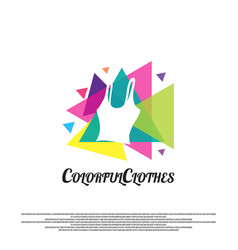 Fashion logo with clothes colorful concept vector