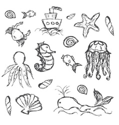fish and sea life hand drawn doodle icons set vector image