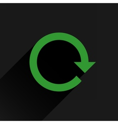 Flat green arrow icon rotation reset repeat sign vector