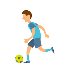 Football player in uniform runs with ball isolated vector