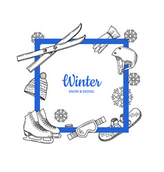 Frame with place for text hand drawn winter vector