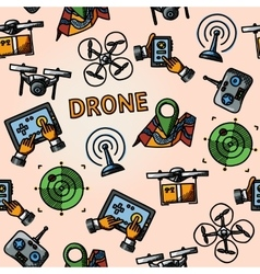 Freehand drone pattern - with box top view vector