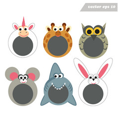 funy cartoon happy animal face masks for mobile vector image