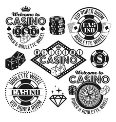 Gambling and casino black emblems elements vector