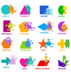 Geometric shapes with monster characters set vector