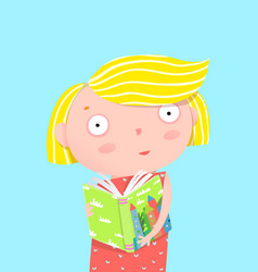 Girl reading book card vector
