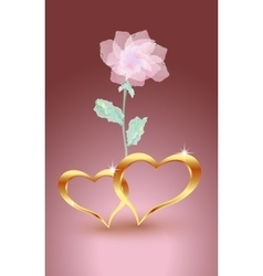 Gold jewelry hearts with rose vector image vector image