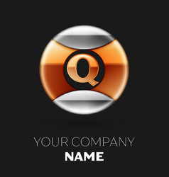 golden letter q logo in silver-golden circle vector image