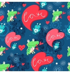 Graphic pattern with frog lovers vector image