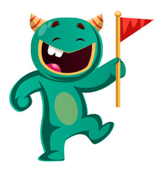 green monster holding a flag vector image
