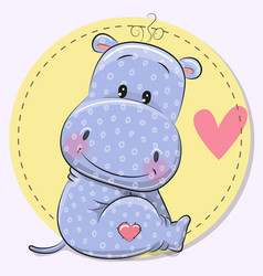 greeting card with cute hippo vector image