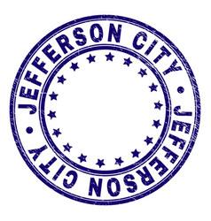 Grunge textured jefferson city round stamp seal vector