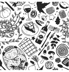 Hand drawn autumn holidays creative ink art work vector