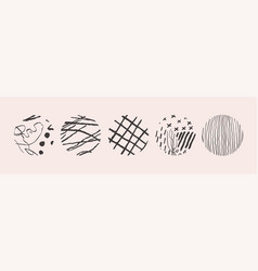 hand drawn set with round isolated abstract black vector image