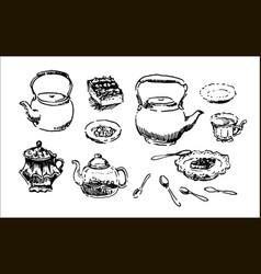 hand drawn sketch of tea pattern vector image