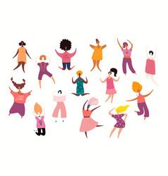 Happy dancing women set vector