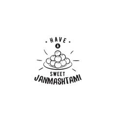 Happy Janmashtami festival typographic vector