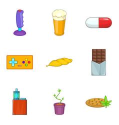 Harmful icons set cartoon style vector