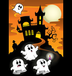 Haunted mansion with ghosts 2 vector
