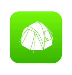 hiking tent icon green vector image