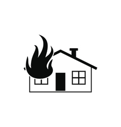 House on fire black simple icon vector