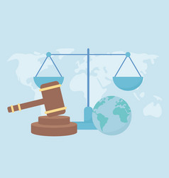 Human rights world hammer law balance justice vector