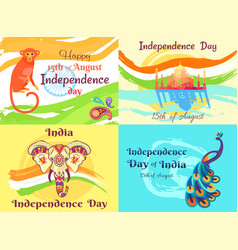 independence day on 15th of august posters set vector image
