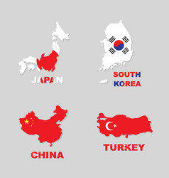 japan south korea china turkey vector image