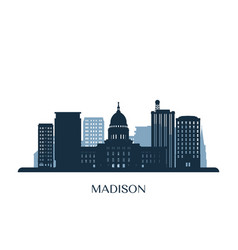 madison skyline monochrome silhouette vector image