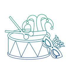 Mardi gras mask drum hat jester and sticks vector