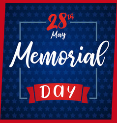memorial day greeting card blue star vector image