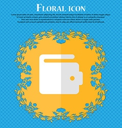 purse Floral flat design on a blue abstract vector image