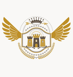 Retro heraldic template created using eagle wings vector
