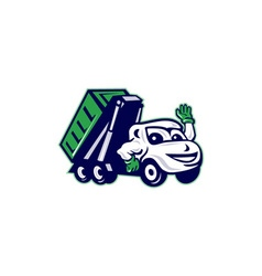 Roll-Off Bin Truck Waving Cartoon vector