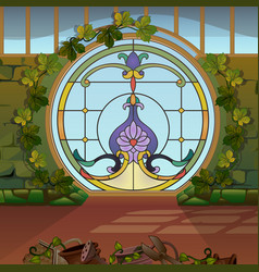 Round window with stained glass in the winter vector