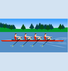 Rowing boat team training before competition vector