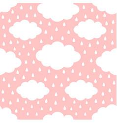 seamless pattern cloud in sky rain drop cute vector image