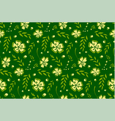 seamless pattern with flowers on green background vector image