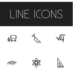 Set of 6 editable science outline icons includes vector
