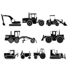 Set of icon heavy machines in black and white vector