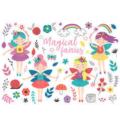 set of isolated magical fairies and other elements vector image