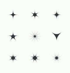 Set sparkle lights stars vector