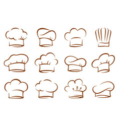 set vintage chef and cook hats vector image