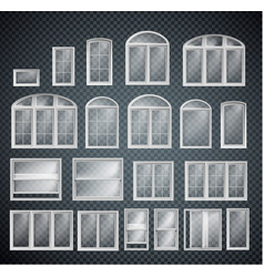 set window frames isolated on transparent vector image
