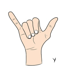 Sign language and the alphabetThe Letter y vector