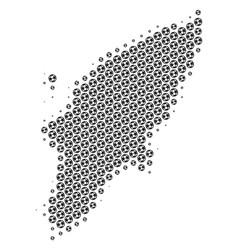 Soccer ball greek rhodes island map mosaic vector