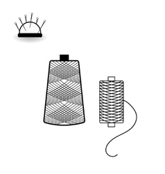 Spools of thread and needle bed vector