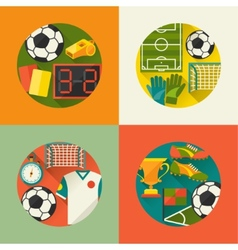 Sports backgrounds with soccer football flat icons vector image