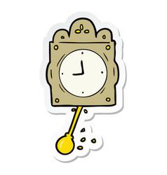 Sticker of a cartoon ticking clock vector