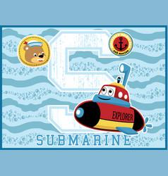 submarine cartoon funny explorer on blue wave vector image
